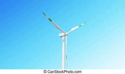 Seamless looping 3d animation of wind turbines on sky...