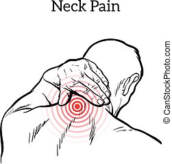 Pain in the neck of a man, vector sketch illustration...
