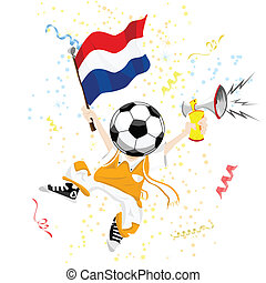 Dutch Soccer Fan with Ball Head Editable Vector Illustration...
