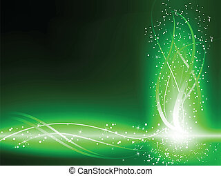 Green Background Stars Swirls - Green Colorful Glowing Lines...