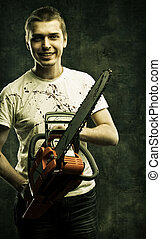 Mad maniac - Mad bloody maniac with chainsaw over grunge...