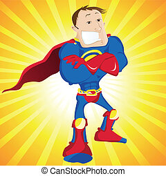 Super Man Hero Dad Editable Vector Illustration
