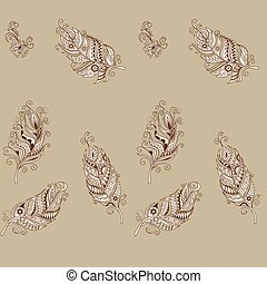seamless pattern in boho style with hand drawn decorated...