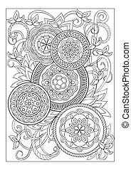 Imade with mandalas and flowers - Hand drawn image with...
