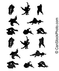 Jiu-jitsu and judo wrestlers vector silhouettes