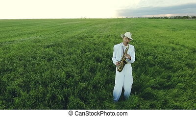 Saxophonist stands in the middle of green fields Aerial...