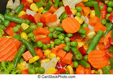 Stewed vegetable - Color stewed vegetable mix, close up as...