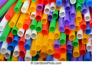 Colorful drinking straws - Colorful plastic drinking straws,...