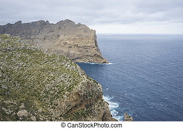 views of Cape formentor in the tourist region of Mallorca,...