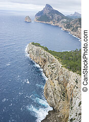 rocks, views of Cape formentor in the tourist region of...
