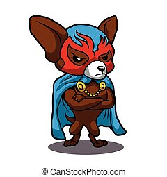 Cute dog chihuahua Fighter Lucha Libre