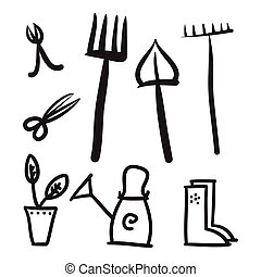 Garden tools set, vector icons illustration.