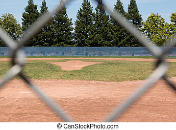 Baseball Field Through Fence - Looking at a little league...