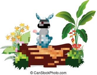 Cartoon bunny on tree trunk - vector illustration of Cartoon...
