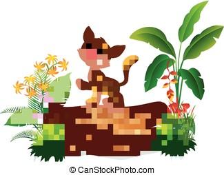 Cartoon baby tiger on tree trunk - vector illustration of...