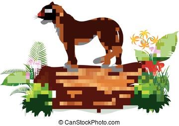 Cartoon cheetah on tree trunk - vector illustration of...