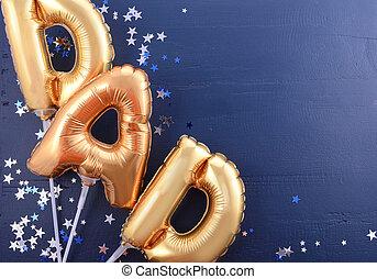 pai, Pais, balões, Dia, Ouro