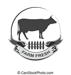 farm fresh, dairy, milk, beef, emblem, vector illustration