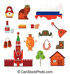 Russia vector set - Russia landmarks, symbols and Russia...