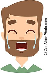 Crying man vector illustration - Tears in eyes of crying...