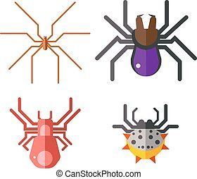 Danger insects vector set. - Set of danger insects on white...