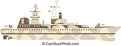 Military ship vector illustration - Grey modern warship...