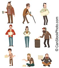 Homeless vector illustration. - Homeless skinny saggy man in...