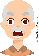Angry grandpa vector illustration. - Angry senior man...