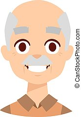 Smiling grandpa vector illustration - Laughing old elder...