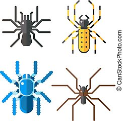 Spiders isolated vector icons set - Spiders, collection...