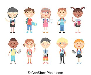 School kids vector illustration - Group of kids going to...