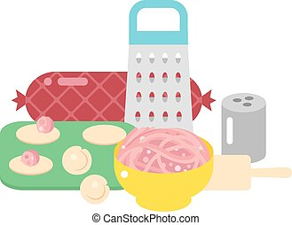 Pelmeni, meat dumplings vector illustration - Making meat...