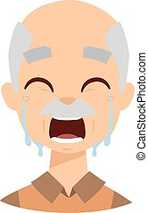 Crying grandpa vector illustration - Female senior citizen...