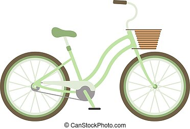 Stylish womens green bicycle isolated on white background...