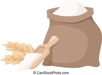 Flour bag vector illustration. - Burlap sack of wholemeal...