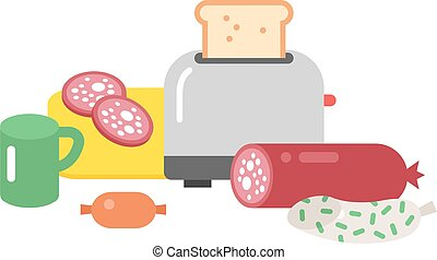 Quick lunch vector illustration - Quick lunch french...