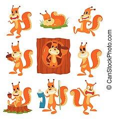 Squirrel vector set collection - Happy cartoon squirrel...