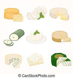 Cheese varieties vector illustration - Delicious fresh...