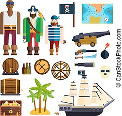 Pirate symbols vector illustration.