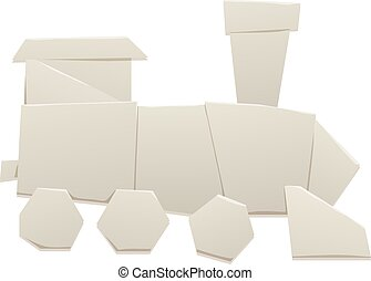 Origami train vector illustration - Cartoon paper origami...