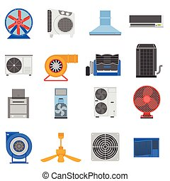 Ventilation vector illustration. - Set of ventilation and...