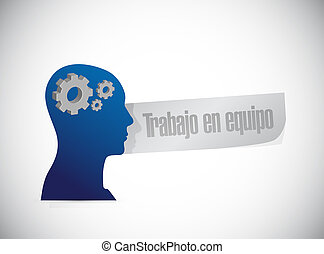 teamwork thinking brain sign in Spanish illustration design...