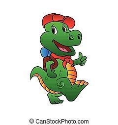 Dino hiker.dinosaur cartoon.