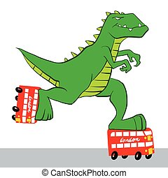 dinosaur riding roller skatesvector illustration