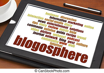 blogosphere word cloud on tablet - blogosphere word cloud on...