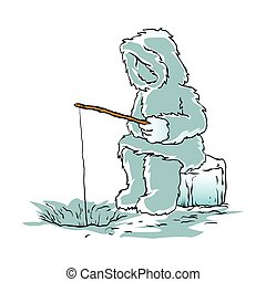 Eskimo fishing for fish.vector illustration.