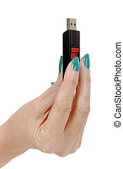 Woman hand holding up a flash drive - woman hand holding up...