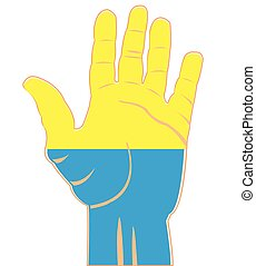 Flag of the ukraine on palm