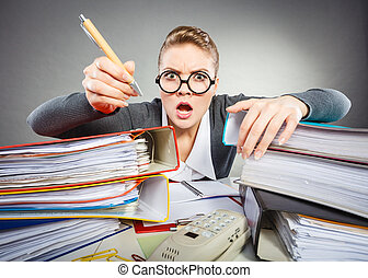 Crazy woman in office - Administration workaholism clerk...
