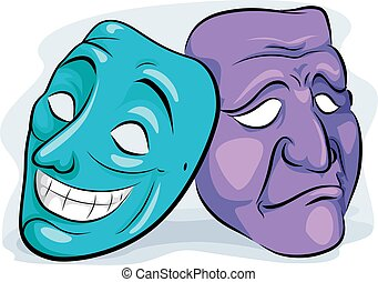Personality Disorder Happy Sad Masks - Illustration of a...